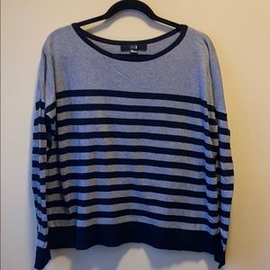 FOREVER21 BLACK & GRAY STRIPED THIN SWEATER
